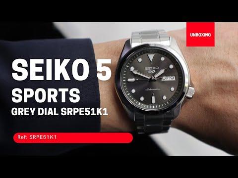 SEIKO 5 SPORTS AUTOMATIC WATCH IN GREY SRPE51K1