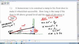 6 2 Solving Application Problems Angle Of Depression And Elevation