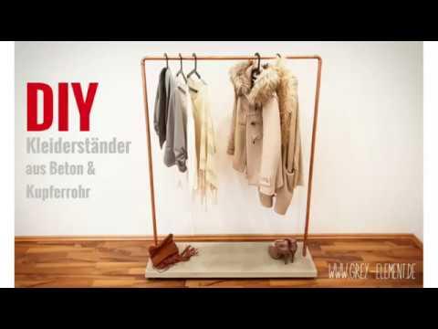 DIY Kleiderständer / Kleiderstange aus Beton und Kupferrohr selber bauen