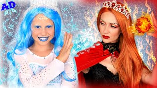 Ice Queen And Fire Queen Dress Up! Will Ice Queens Blinger Gem Powers Save Magical Ice Cream?