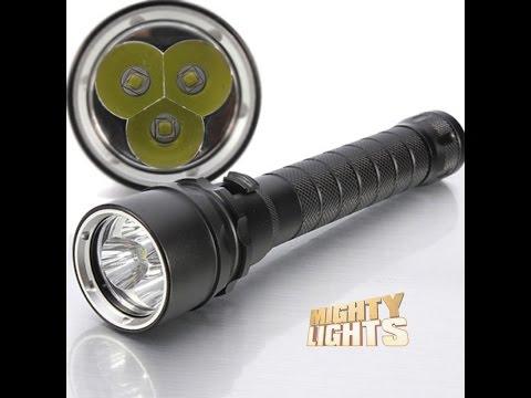 3* CREE XML-L2 T6 LED 100m Waterproof scuba diving dive torch light lamp demo/review