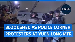 Hong Kong police beat protesters inside Yuen Long MTR station