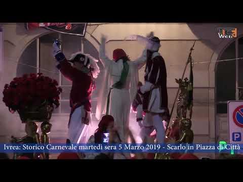 Preview video Ivrea Storico Carnevale martedì sera 5 Marzo 2019 Scarlo in Piazza di Città