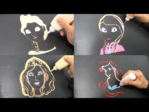 Girls Pancake Art Compilation - Elsa, Anna, Barbie, Ariel