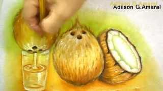 Cocos Secos Pintura em Tecido