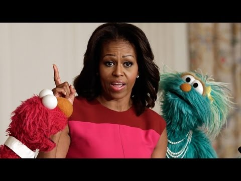 Video Michelle Obama and Sesame Street puppets promote healthy eating