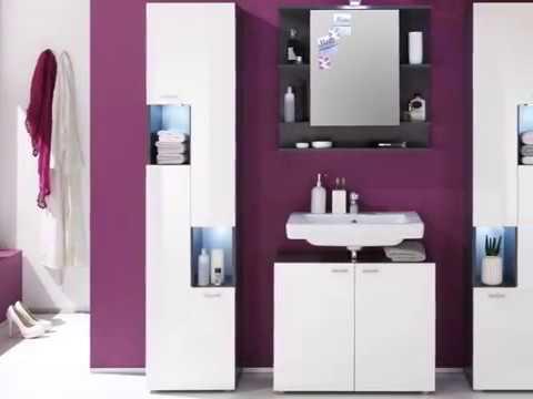 Badmöbel Set Tetis weiß Hochglanz und Graphit grau Badschränke und Sets