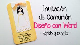 INVITACIÓN COMUNION: DISEÑO CON MICROSOFT WORD