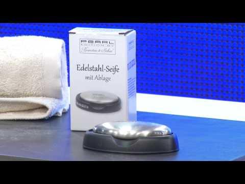 Edelstahl-Seife mit Ablage