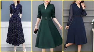 Outstanding A Line Knee Length Casual Shirts Midi Dresses Long Frocks Design Ideas For Women