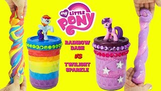 D.I.Y. MY LITTLE PONY Rainbow Dash VS Twilight Sparkle Slime Challenge