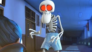 Funny Animated Cartoon | Spookiz Skeleton Teacher Wears Only His Underpants | Cartoon for Children