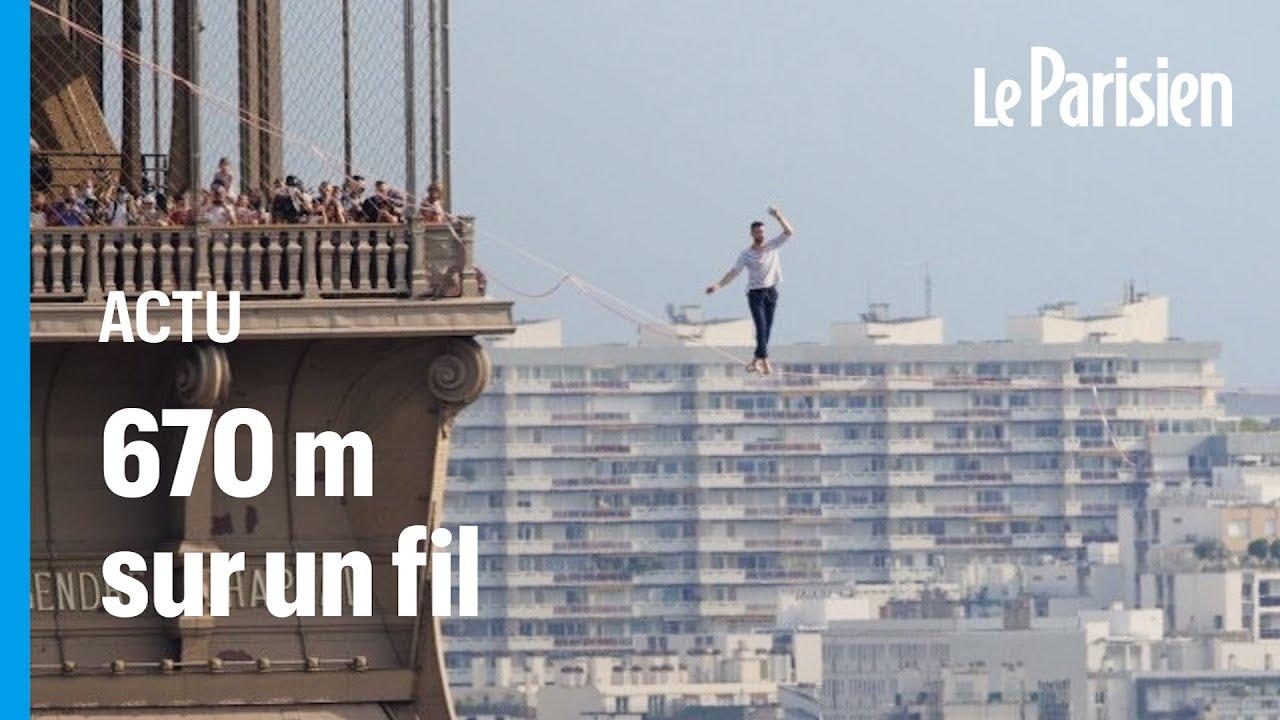 Nathan Paulin a marché dans le vide entre la tour Eiffel et le Palais de Chaillot