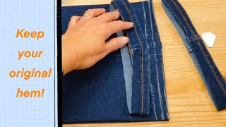 Hem Jeans While Keeping Original Hem (process By A Professional)