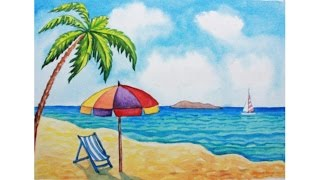 How to draw a scenery of sea beach step by step easy draw most how to draw a beach scene art school altavistaventures Images