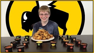 12-yr-old eats 18 hot sauces from Buffalo Wild Wings : Crude Brothers - Video Youtube