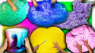 10 GIANT DIY SLIMES in 12 minutes   Giant Fluffy, Floam, Butter, No Glue slime how to
