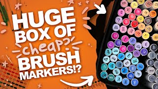 A BIG 'BUCKET' OF 120 OHUHU BRUSH-MARKERS?! | + Ohuhu Marker Pad Demo