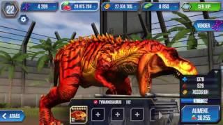 Jurassic world #30 tirannosaurus nivel 40 y evento estampida de dinosaurios