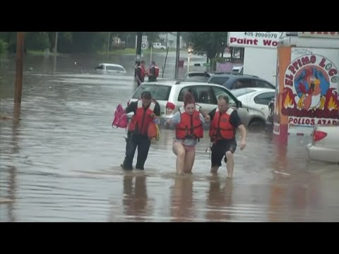 Heavy rains flooded streets and businesses, prompting high water rescues in Oklahoma City as 1.5 inches of rain fell during a 30-minute period Thursday. (June 6)