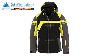 Spyder, Titan, ski jacket, men, black/polar grey/acid yellow