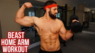Home Bicep/ Tricep Workout Routine –Dumbbell ONLY Arm Workout (Get BIGGER Arms At Home!!) by BarbarianBody