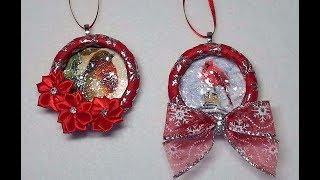 DIY~Beautiful Wrapped Ribbon Christmas Card Wreath Ornaments! | Kholo.pk
