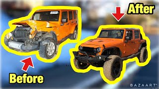 Rebuilding a Salvage Auction Frame Damage Jeep Wrangler JK In 10 Minutes Like THROTL