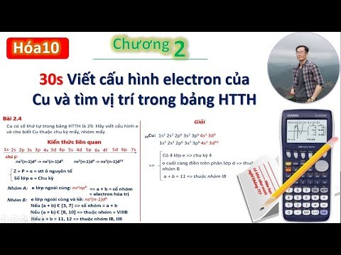 ✔ Hóa10  Viết nhanh cấu hình e và tìm vị trí Cu trong bảng HTTH (chương 2)