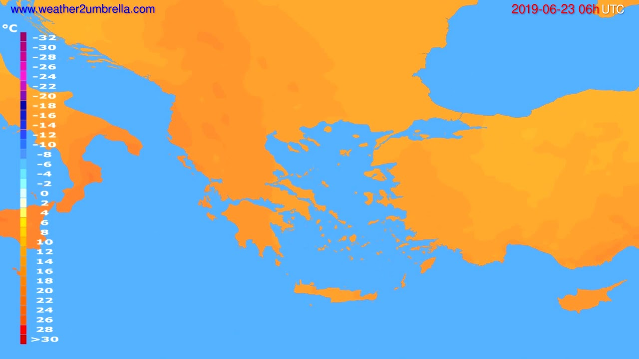 Temperature forecast Greece // modelrun: 00h UTC 2019-06-21