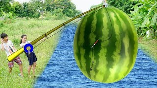 Kids Go To School | Play Game Fishing  Giant Watermelon w/ Kids Alphabet Song Childrens