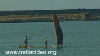 Beached fishing boats at Kovalam