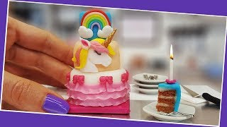 Mini UNICORN cake + Birthday Party with mini surprises. UNBOXING! :) Mini cooking, tiny cooking ASMR