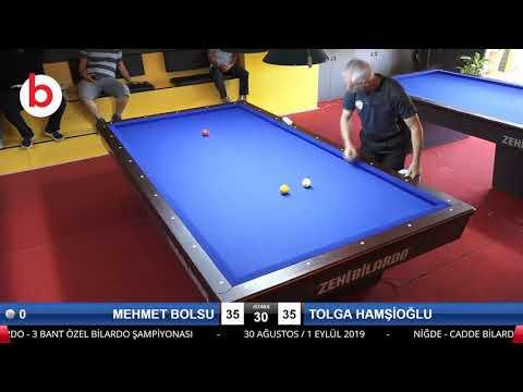 MEHMET BOLSU & TOLGA HAMŞİOĞLU Bilardo Maçı - NİĞDE CADDE BİLARDO - 3 BANT ÖZEL BİLARDO ŞAMPİYONASI 2019-4.TUR