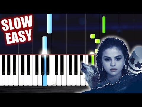 Selena Gomez, Marshmello - Wolves - SLOW EASY Piano Tutorial by PlutaX