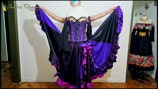 Roupas Ciganas Gypsy Clothing La Ropa Gitana Conjunto Roxo E Preto