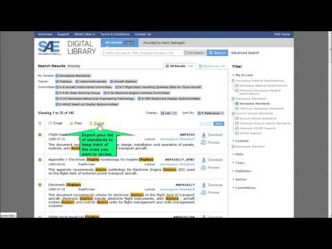 How to Search for Standards with a Desired Criteria Using the SAE International Digital Library