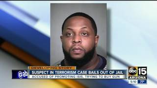 Suspect in terrorism case bails out of jail