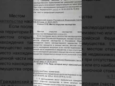 Статья 1115 ГК РФ/Место открытия наследства