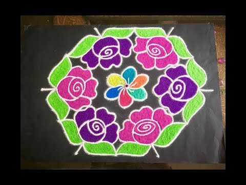 Simple Rangoli Design With Colours Dots 13x7 For Beginners Rmpv