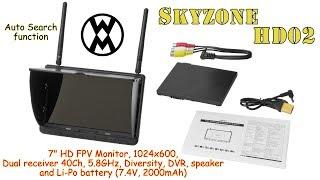 "Skyzone HD02 7"" HD FPV Monitor, 1024x600, 40Ch, 5.8GHz, Diversity, DVR, Speaker, Battery"