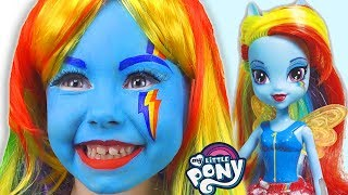 Alice as a Rainbow Dash My Little Pony  with Equestria Girl doll and colors paints