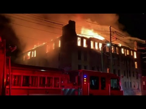 Detroit apartment building demolished after massive fire