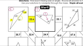 Day 1 HW (1 To 2) Law Of Sines Maze
