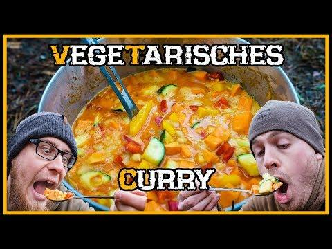 Lecker Vegetarisches Curry draußen kochen - Outdoor Bushcraft Küche