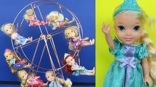 FERRIS WHEEL! ELSA & ANNA toddlers at FAIR! Amusement Park, Cotton Candy! Other kids join them