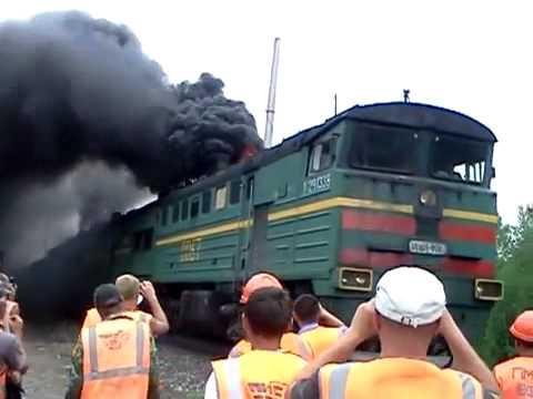 Russian train black smoke. Epic video