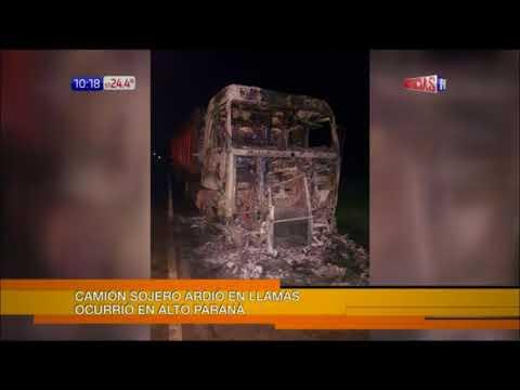 Camión con soja se incendia sobre ruta en Alto Paraná