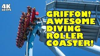 Riding Griffon AWESOME Dive Roller Coaster! Multi Angle 4K Onride POV! Busch Gardens Williamsburg