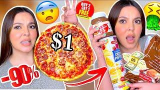 أكلت أرخص أكلات غير معروفة في السوبر ماركت لمدة 24 ساعة!!!😨 قرف...ندمت 💔🤢